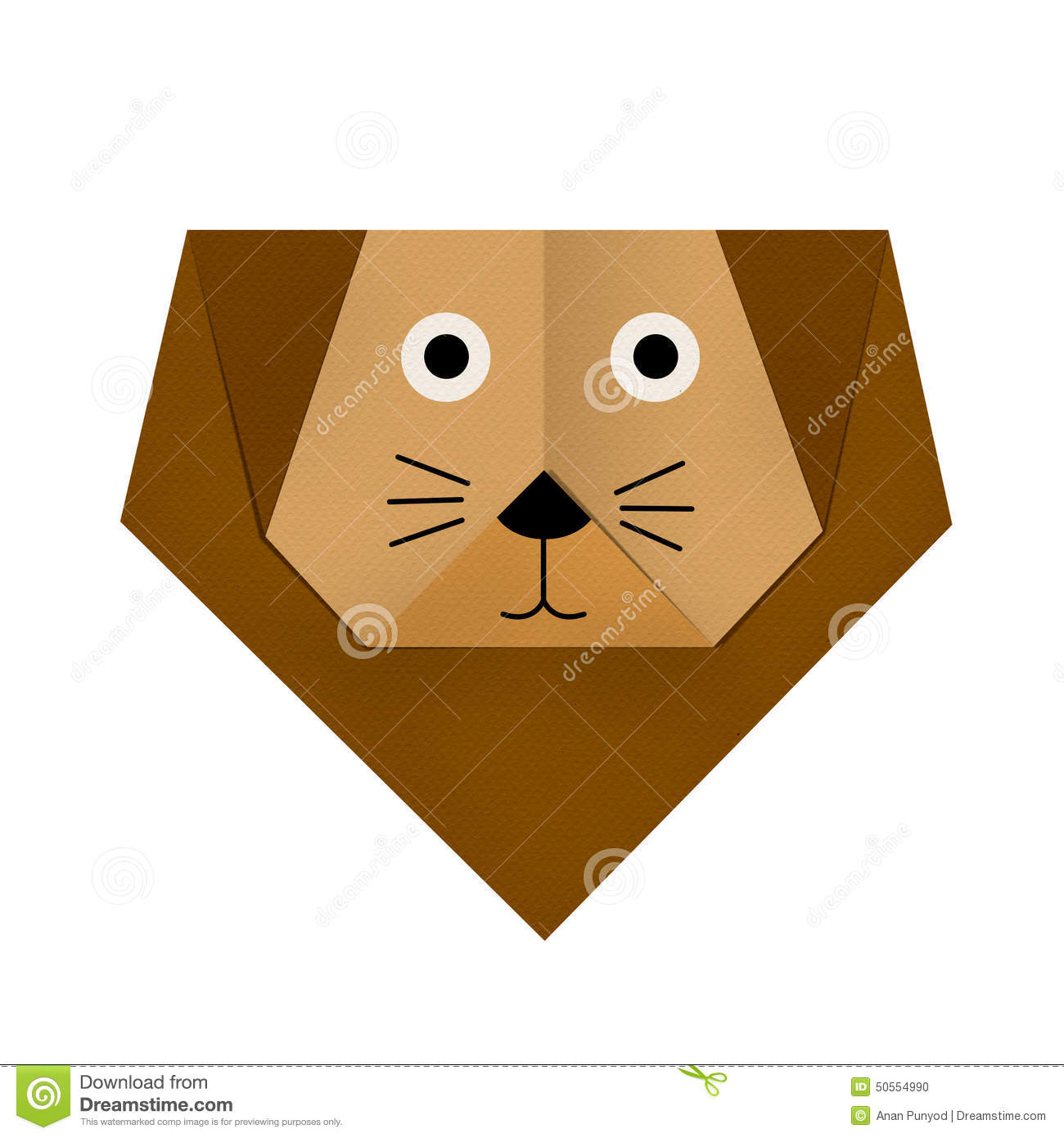 Origami Paper A Lion Face Stock Photo