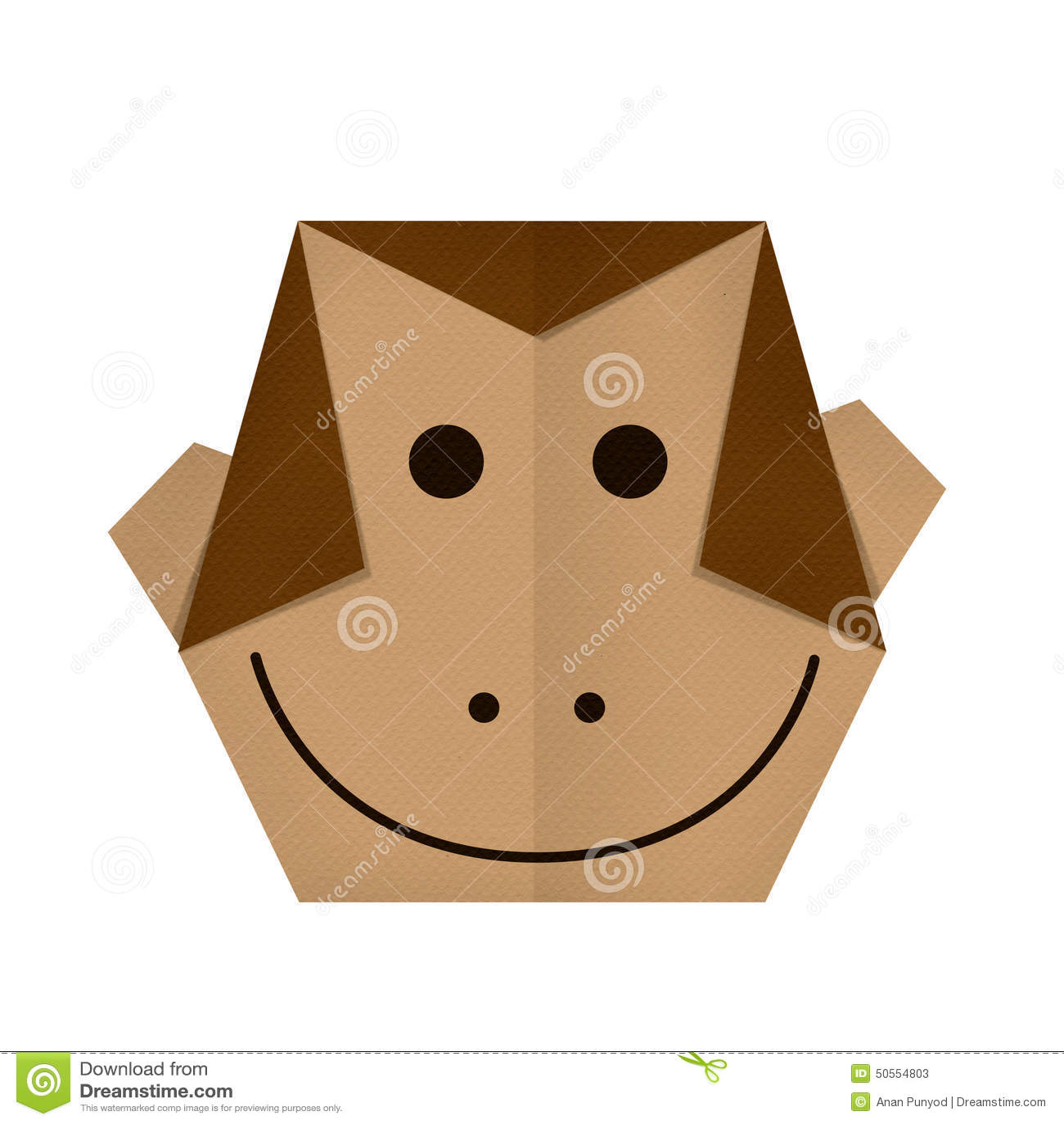 Origami Paper A Monkey Face Stock Photos