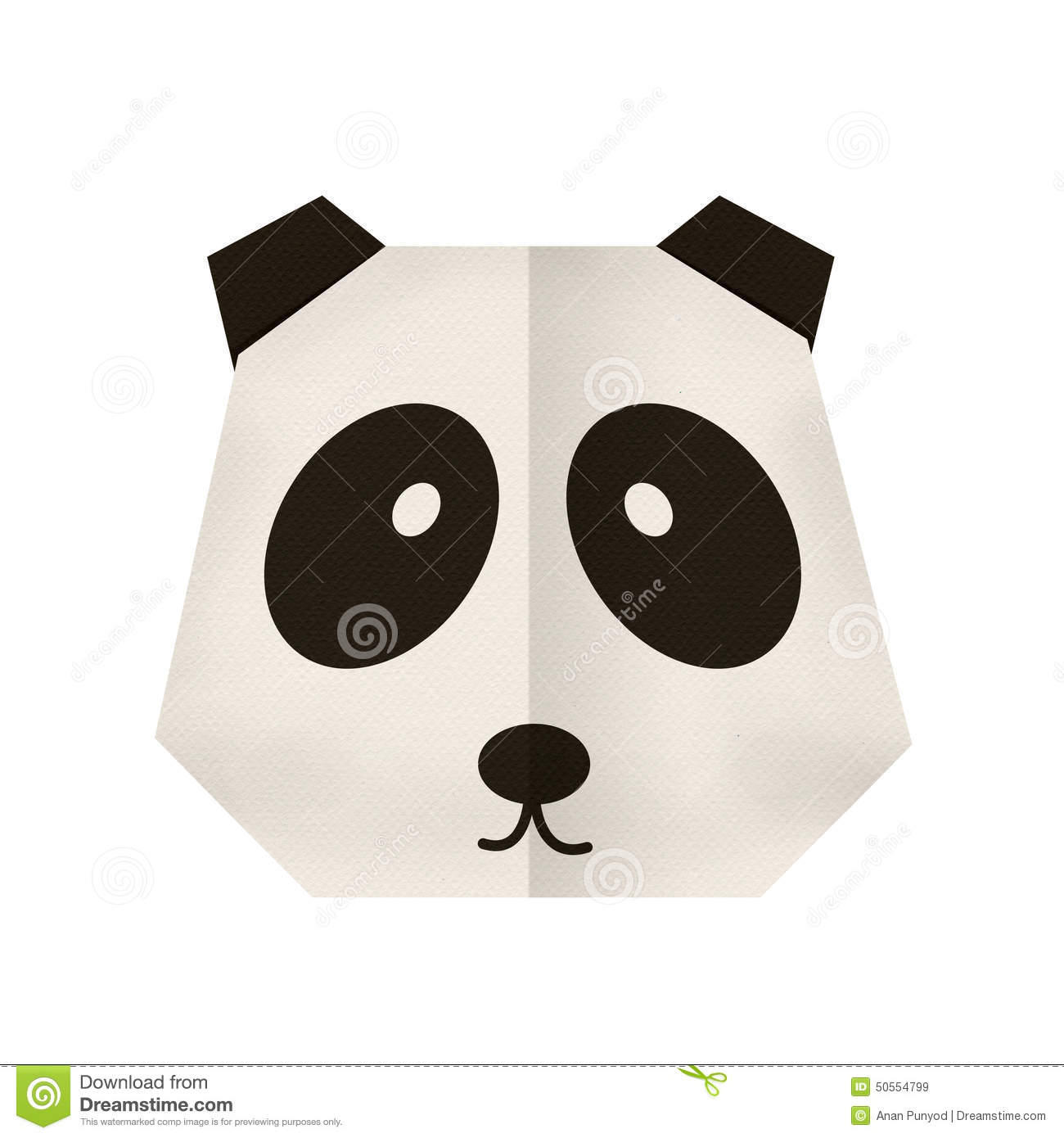 Origami Paper A Panda Face Stock Image