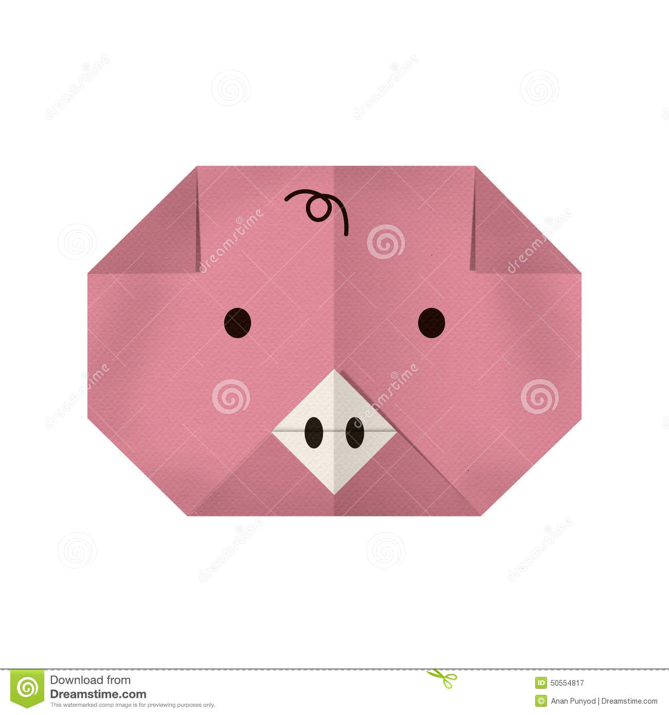 Origami paper a pig (face) stock image. Image of shape ... - photo#12