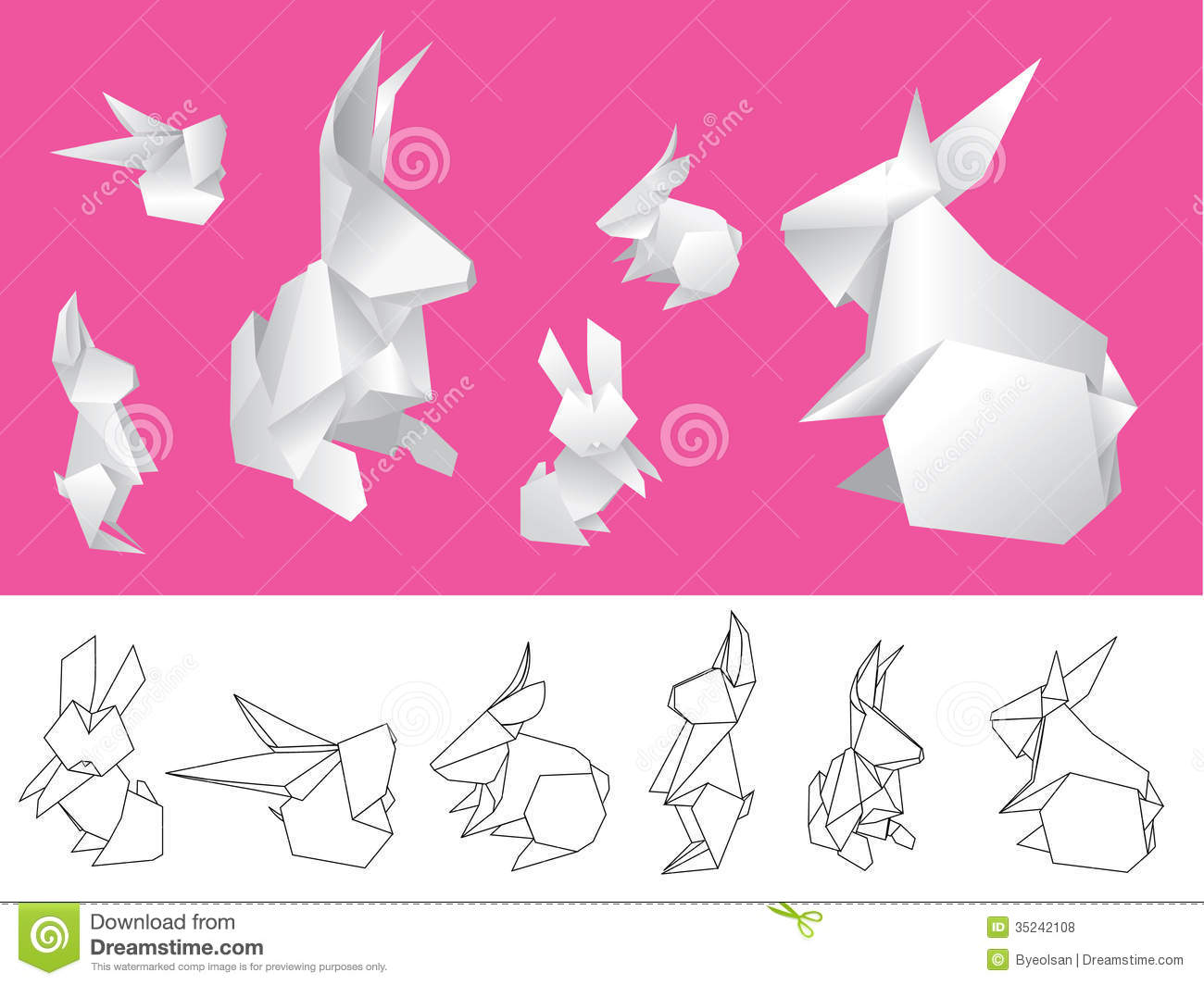 Origami Paper Rabbits Stock Vector Illustration Of Outline