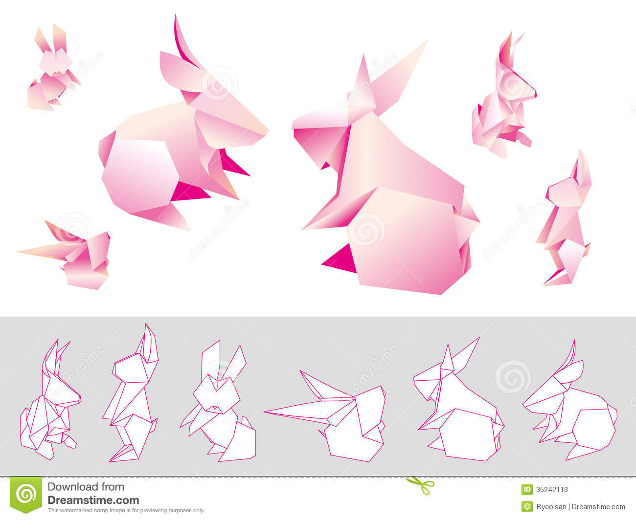 Origami Paper Rabbits Stock Vector Illustration Of Paper