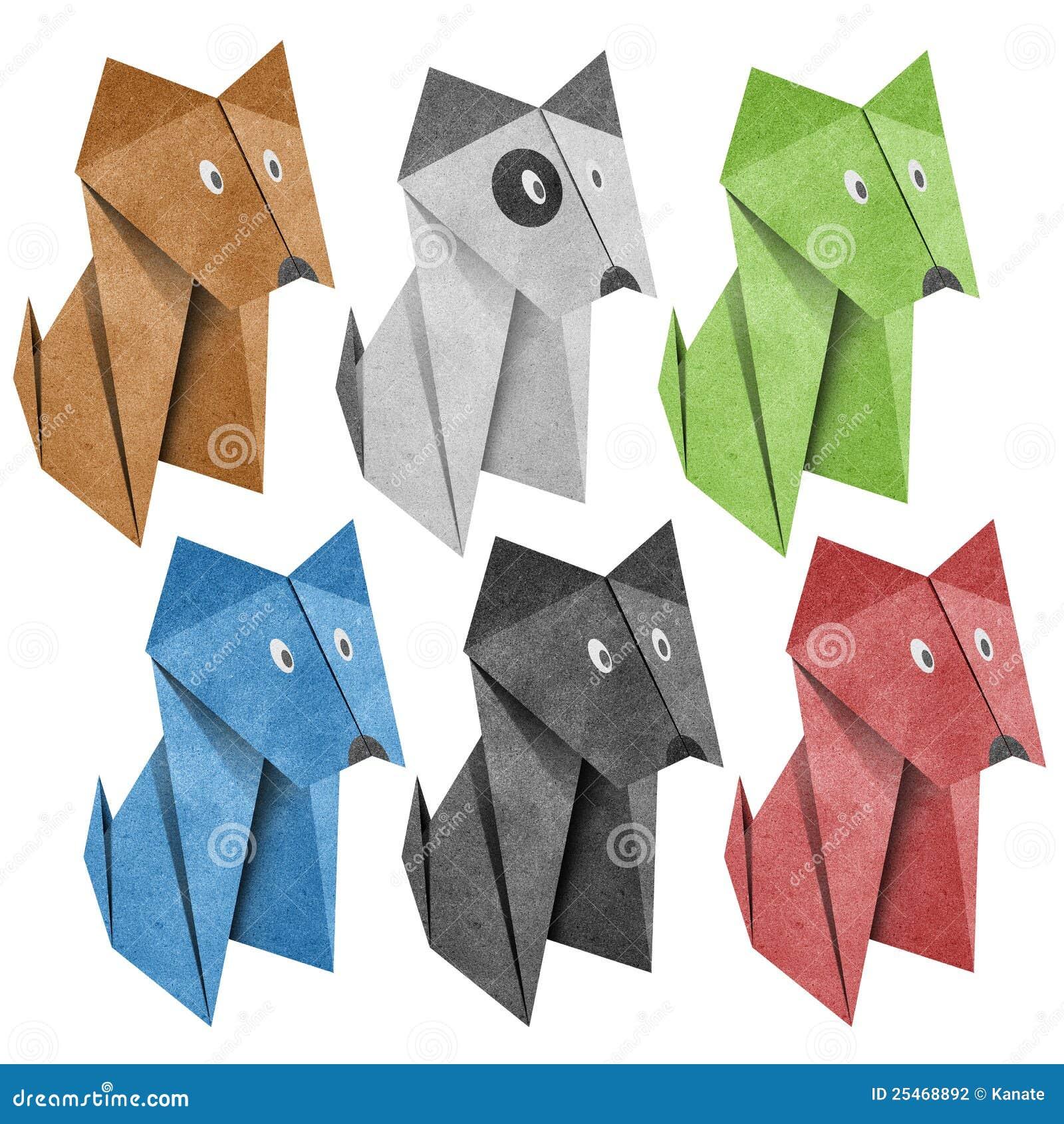 Origami Papercraft recicl cão