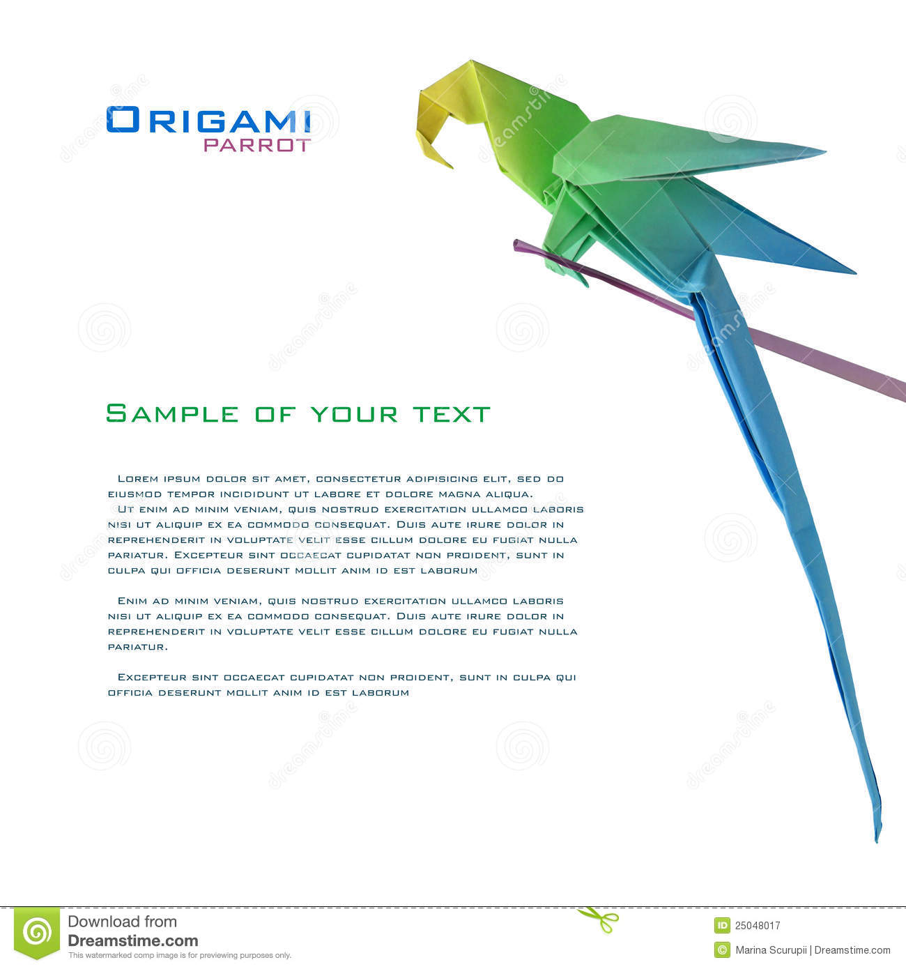 Origami Parrot On A Branch Stock Image Of Paints 25048017 Cute Mouse Diagram