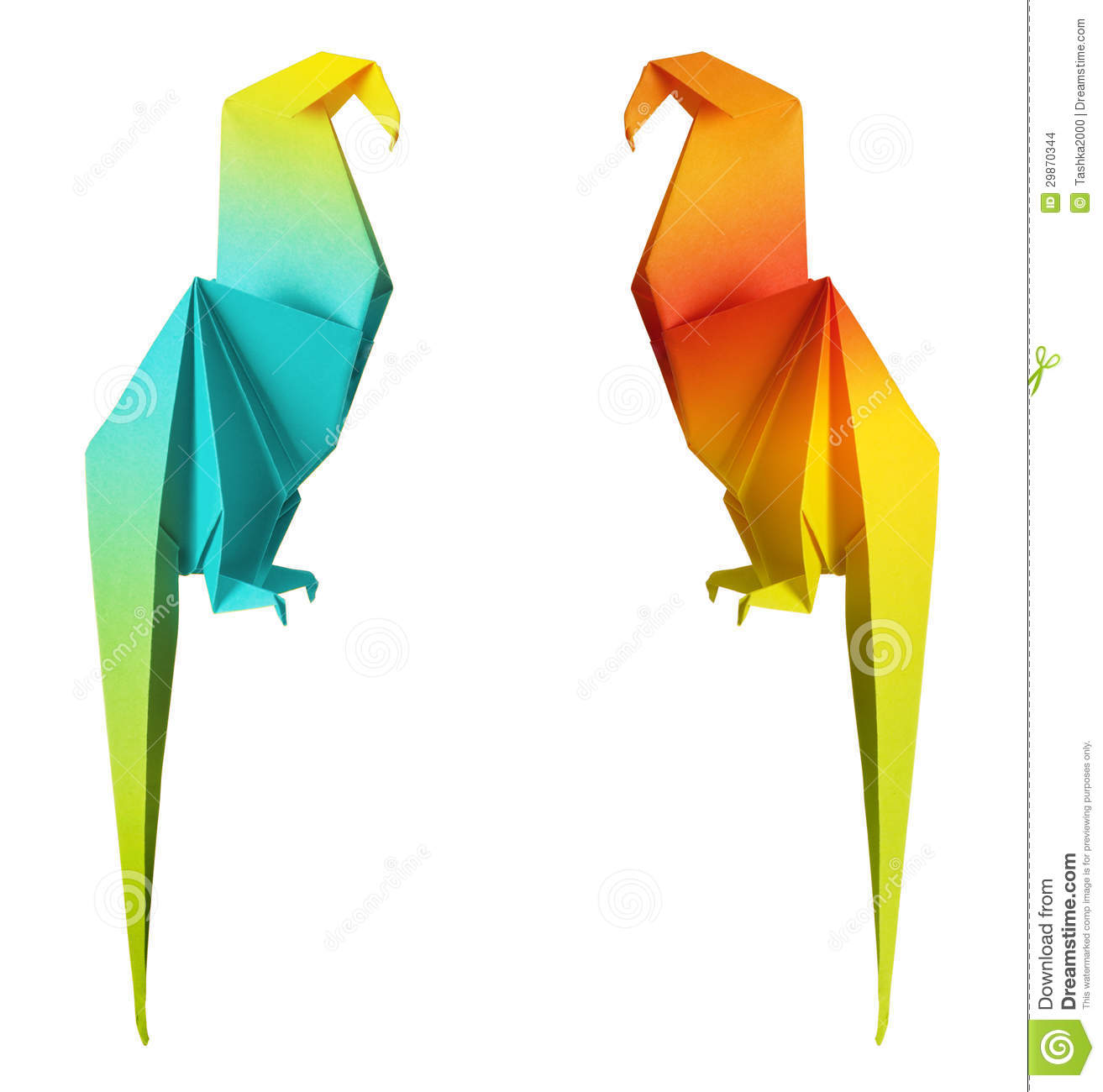Origami parrot isolated on a white background.
