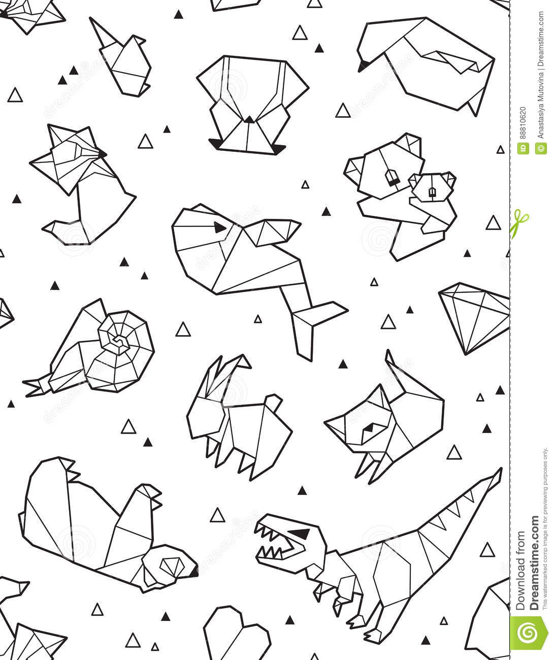 origami pattern background with outline animals stock vector