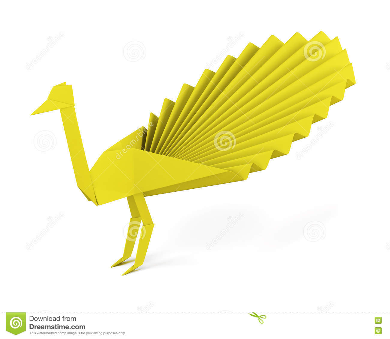 Origami Peacock Made Of Paper Isolated On White Background 3d R