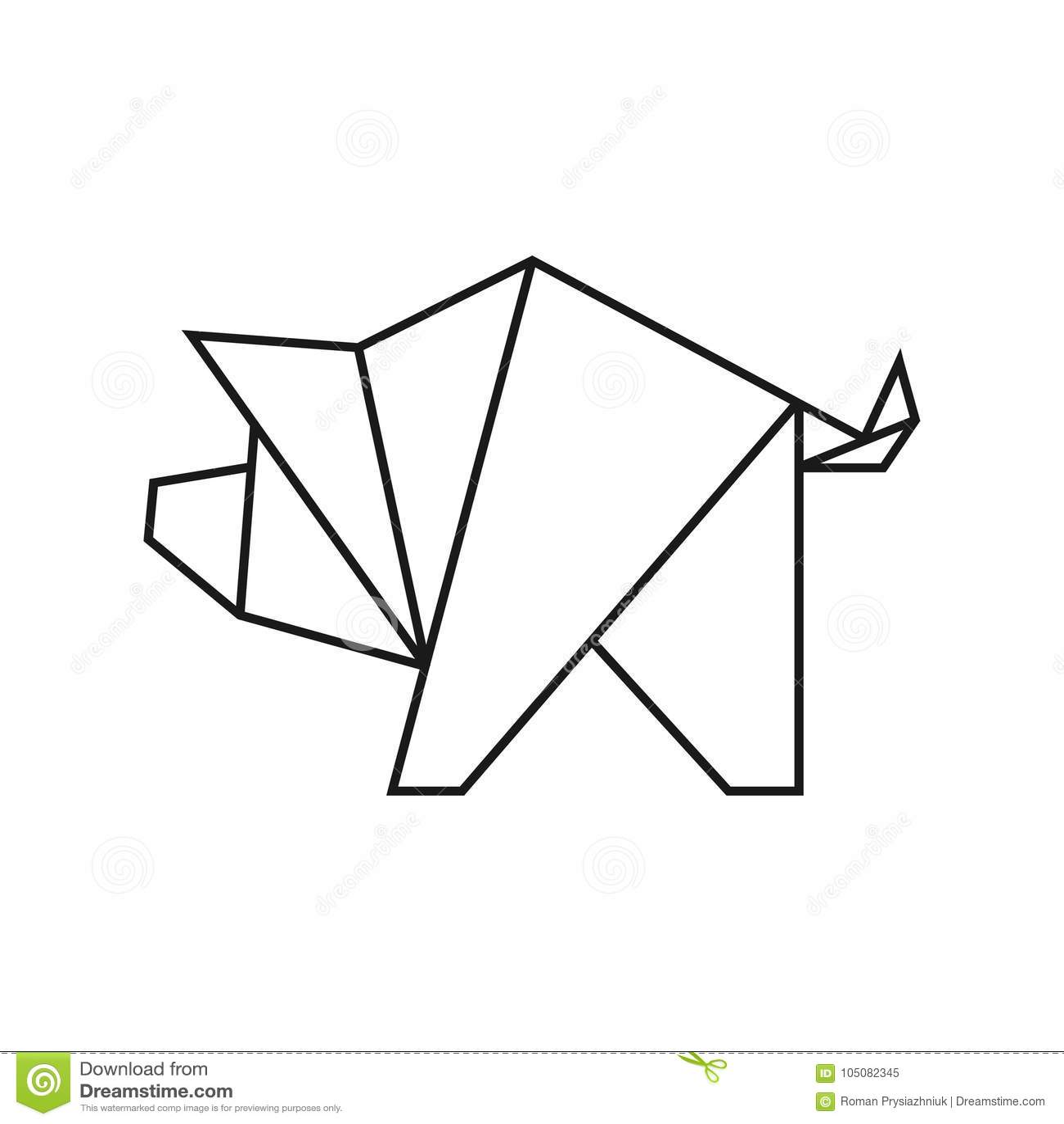 Origami Pig. Geometric Line Shape For Art Of Folded Paper
