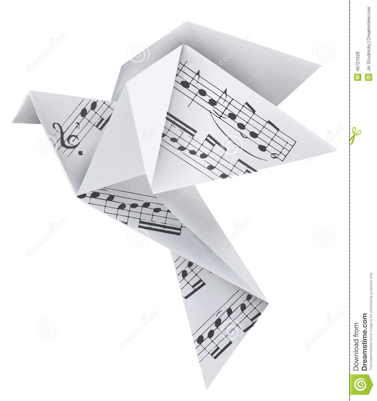origami pigeon with musical notes stock vector image