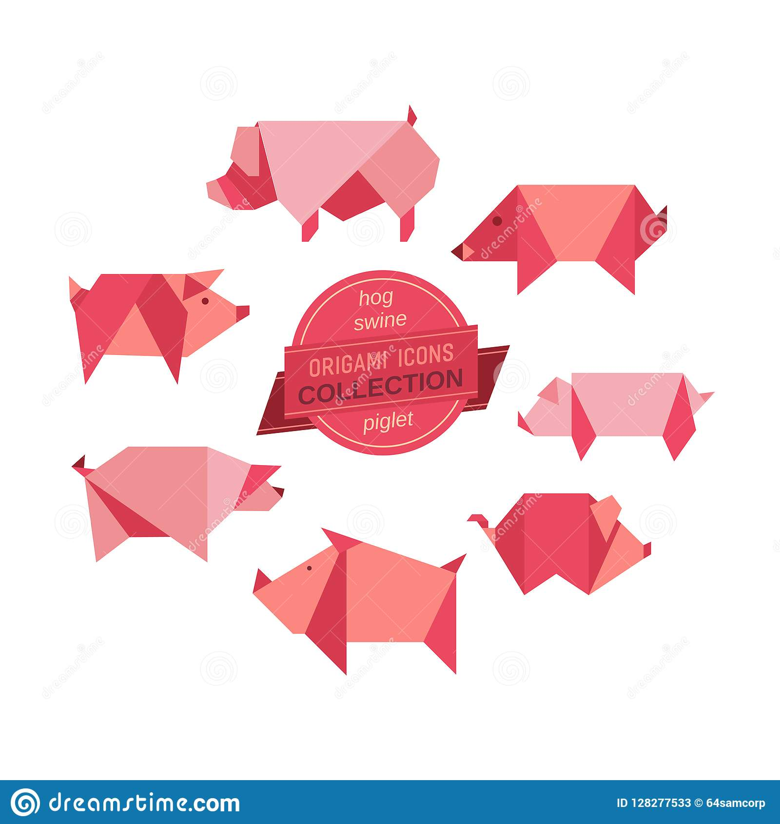 Origami Pigs Collection Stock Vector Illustration Of Minimal
