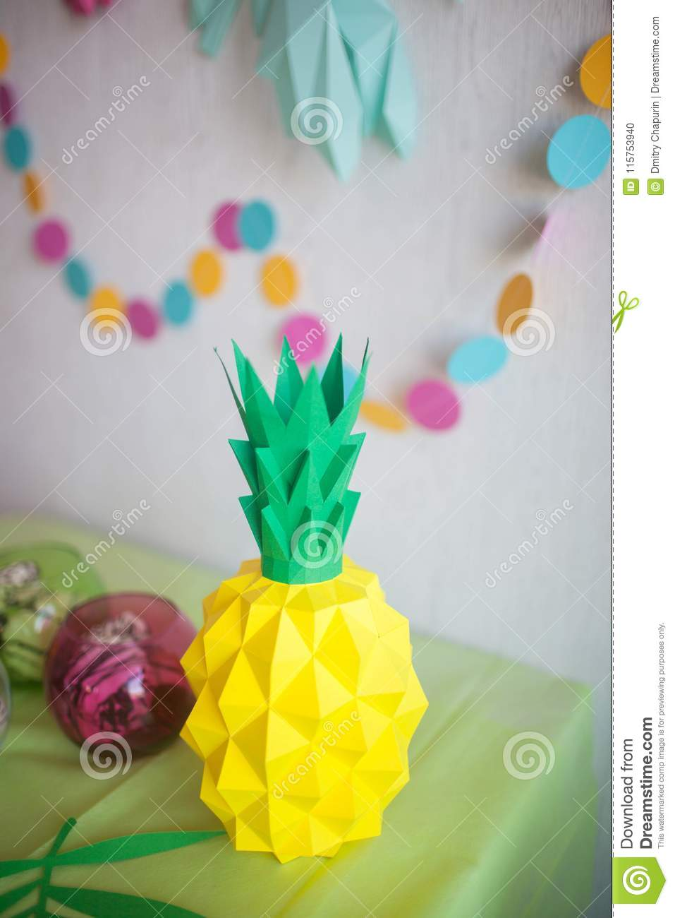Origami Pineapple From Colored Paper Stock Photo Image Of Blue