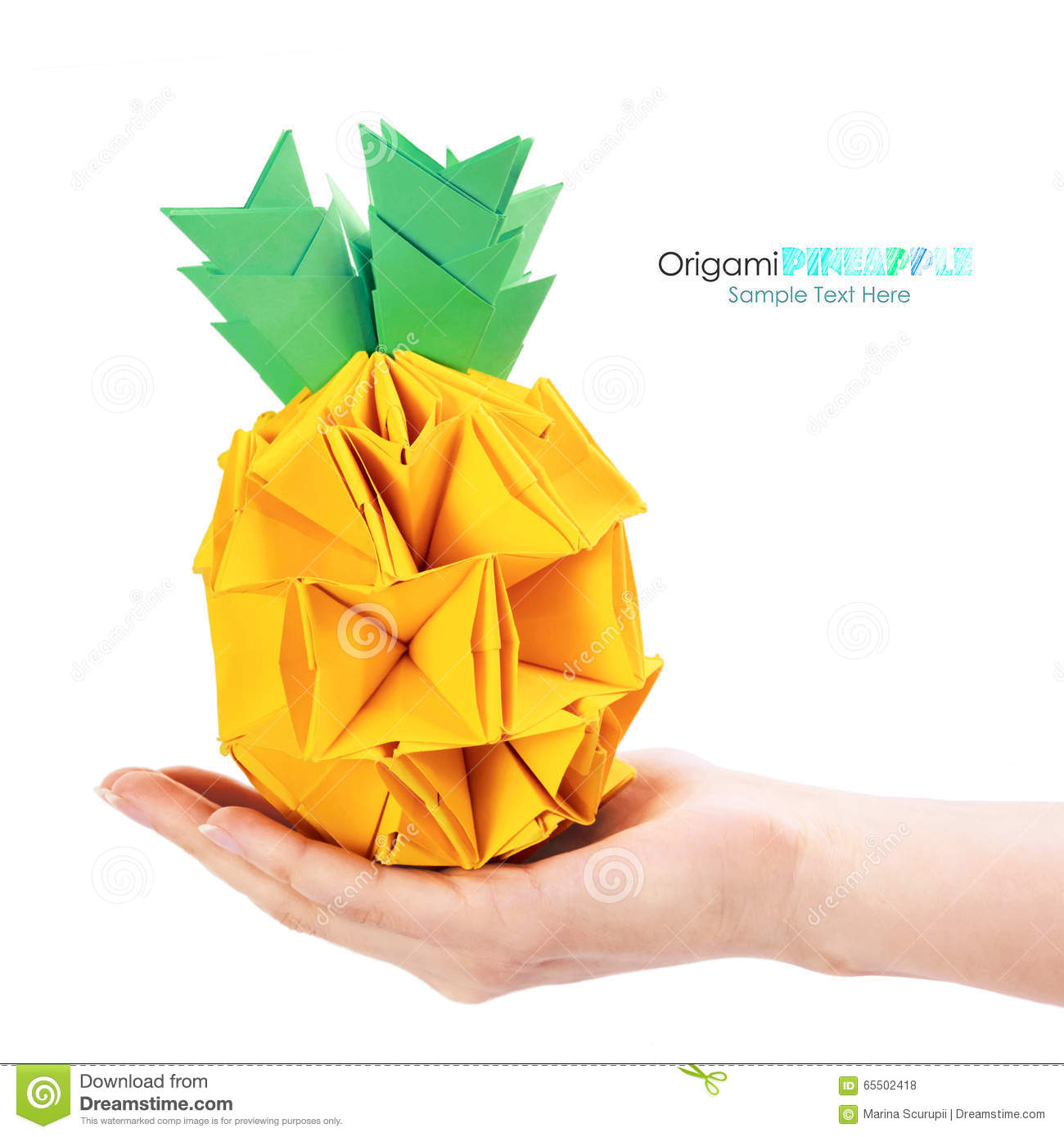 Origami Pineapple On Hand Stock Photo Image Of Cartoon 65502418