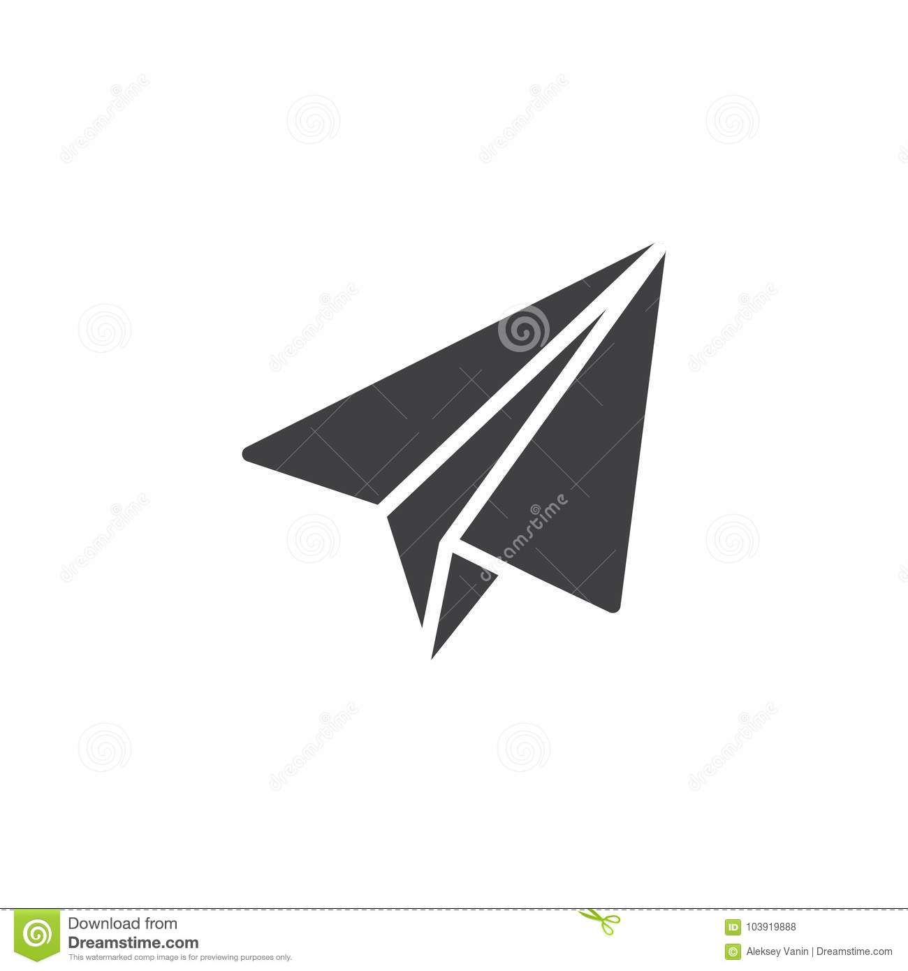Origami Plane Icon Vector Filled Flat Sign Solid Pictogram Isolated On White Paper Airplane Symbol Logo Illustration