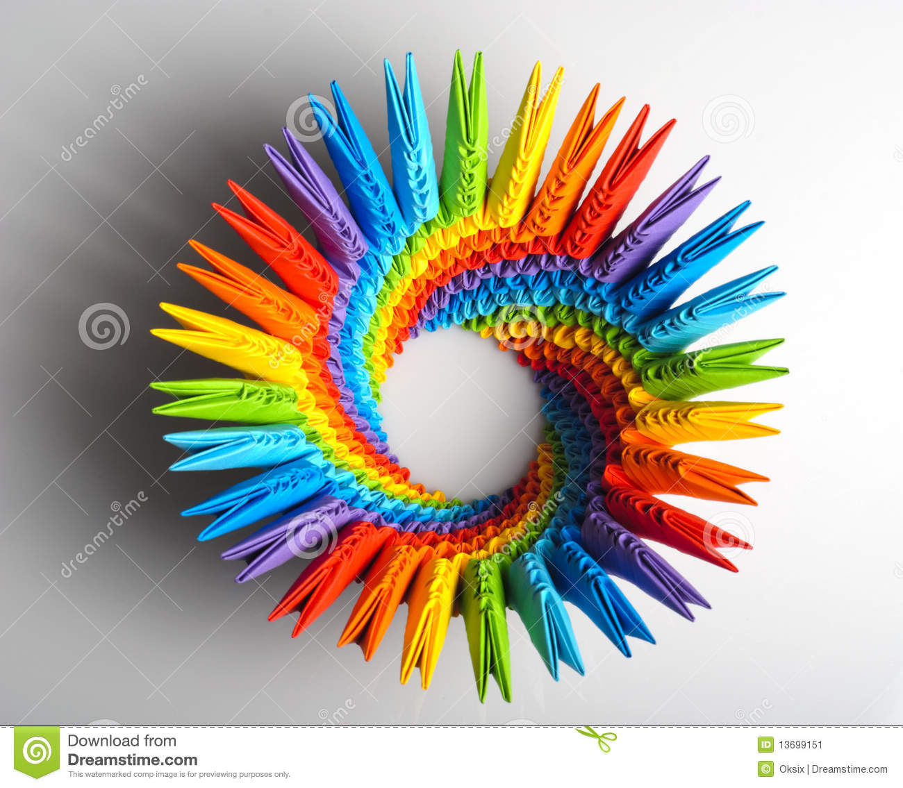 Colorfull origami 3d units like a rainbow circle isolated on white