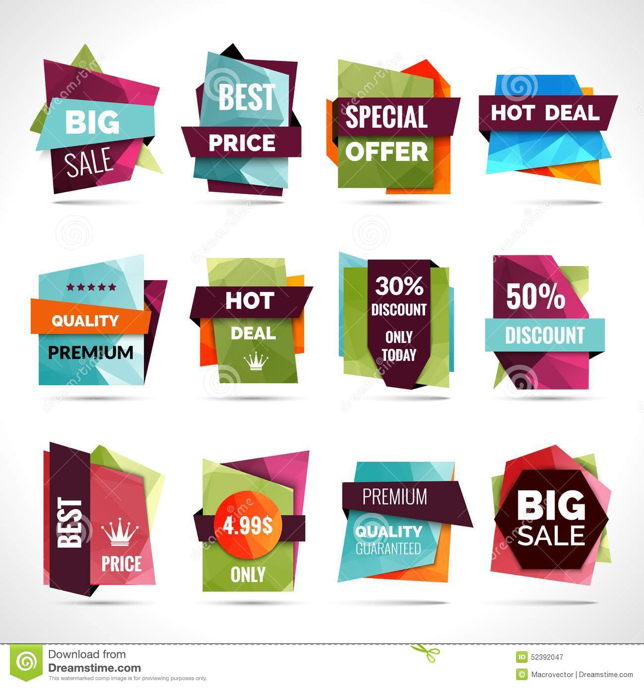 origami sale labels stock vector image 52392047