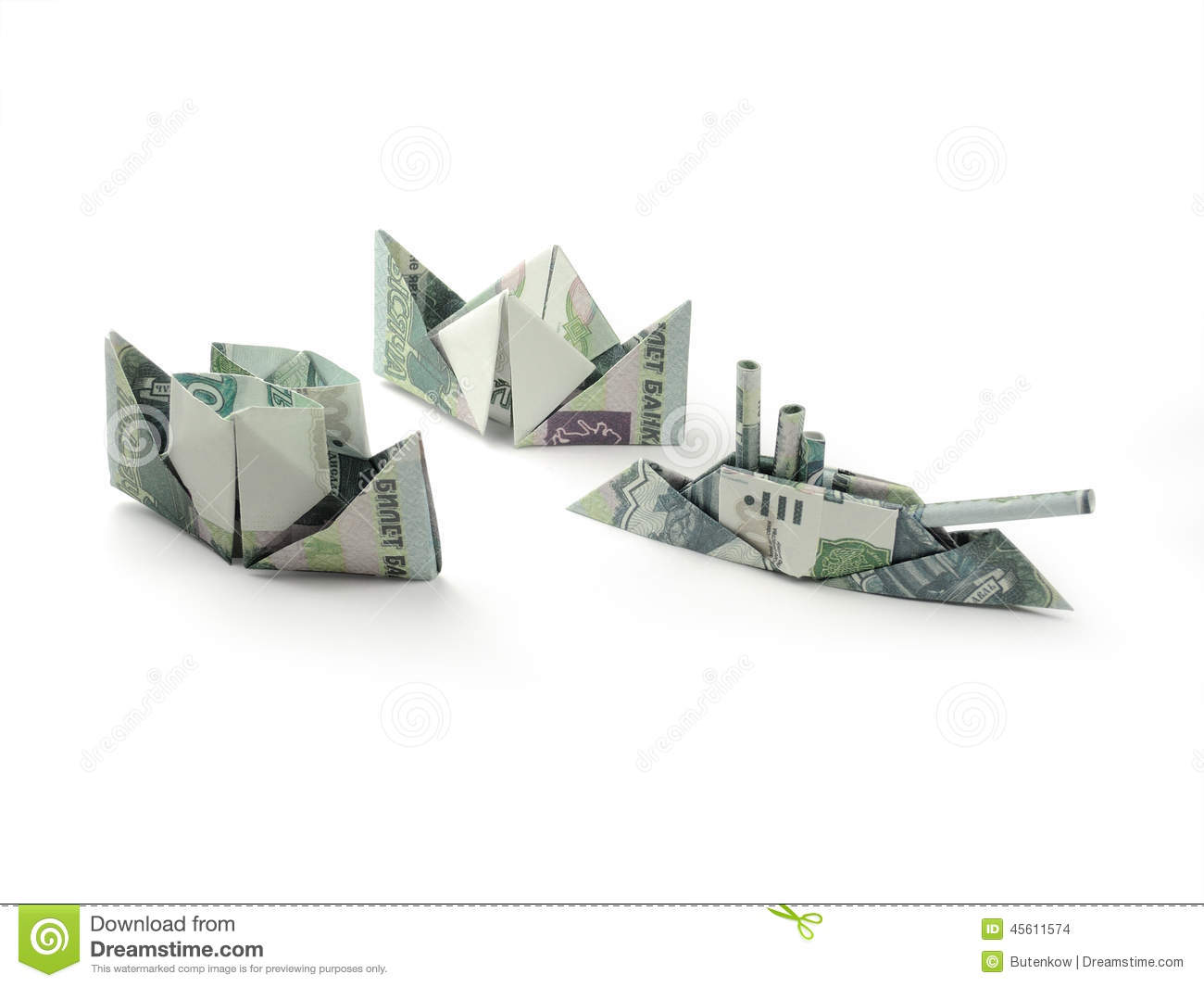 origami ships of one thousand ruble banknotes stock photo