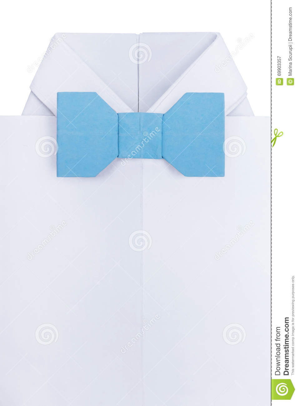 Origami Shirt With Bow Tie Stock Image Image Of Event 69903357