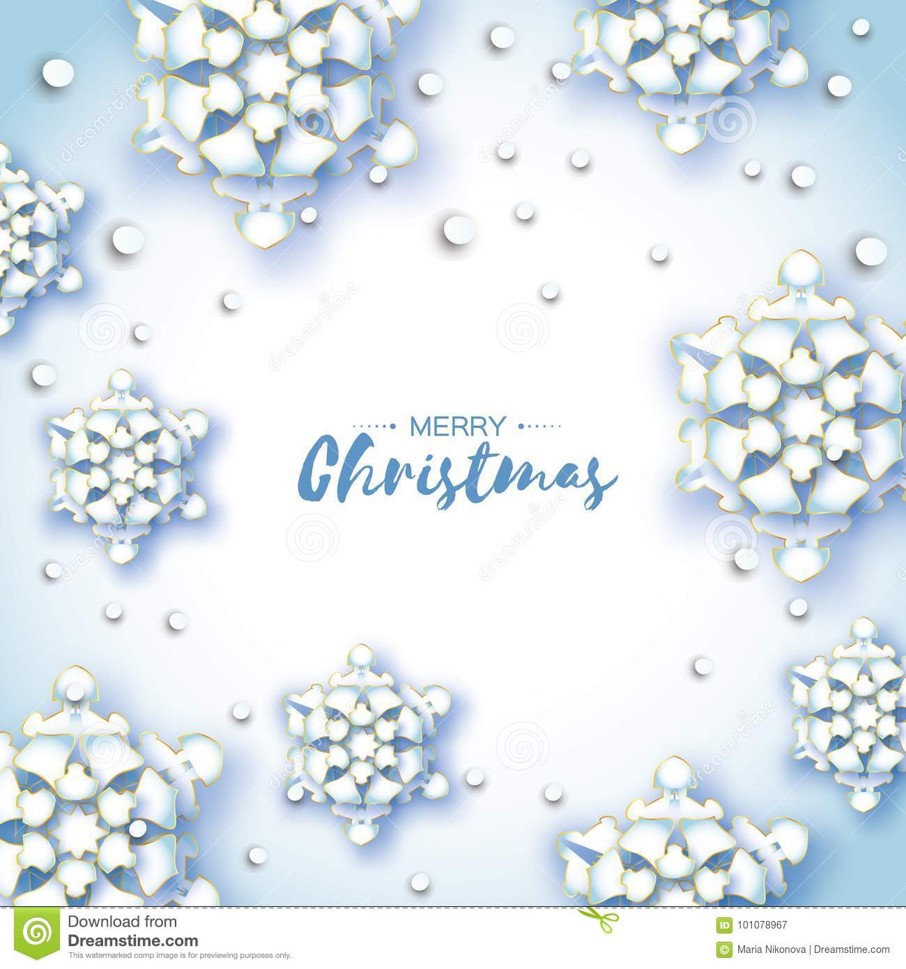Origami Snowfall. Merry Christmas Greetings Card. White Paper Cut ...