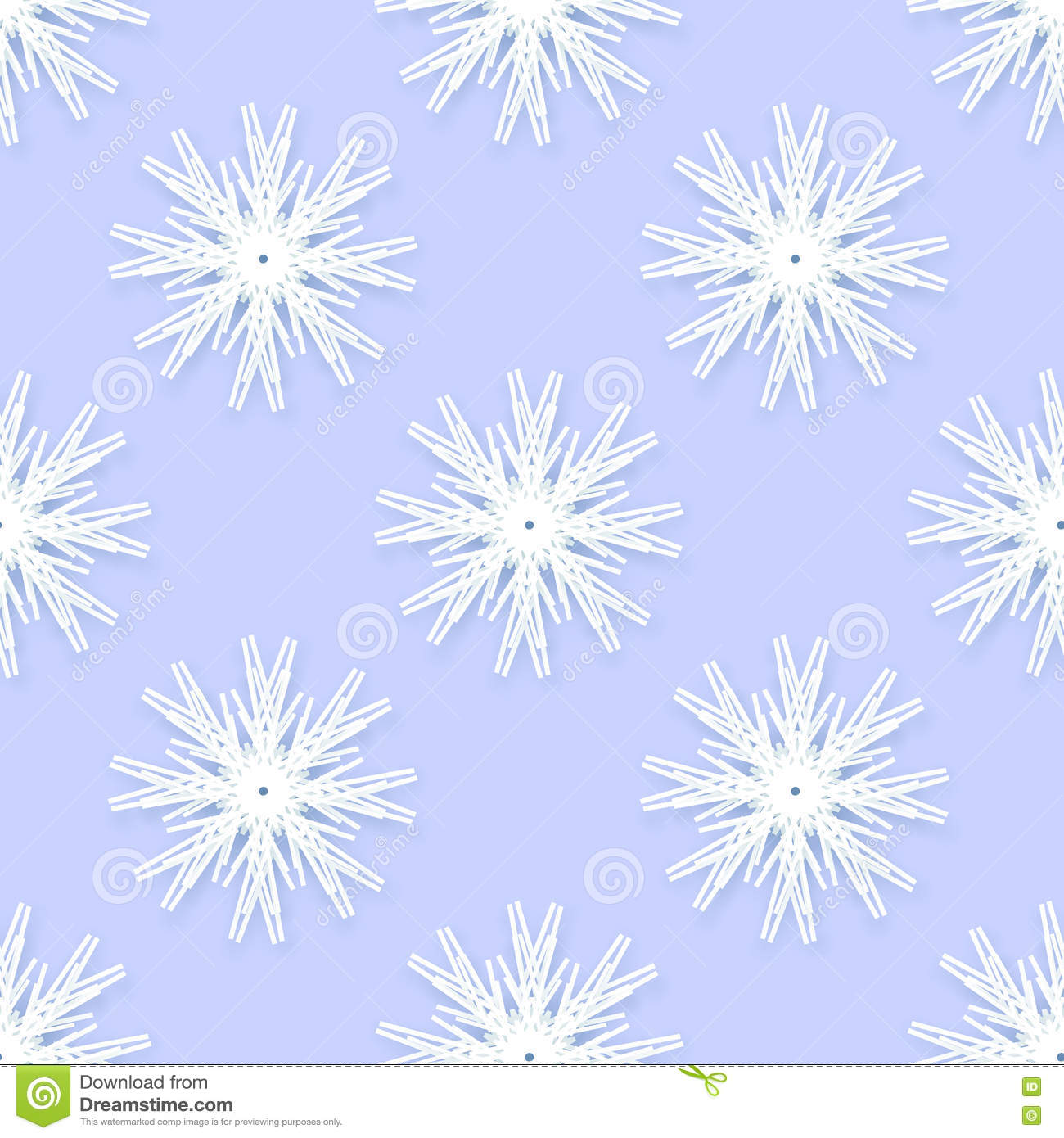 Origami Snowflakes Seamless Pattern On Blue Background Stock Vector