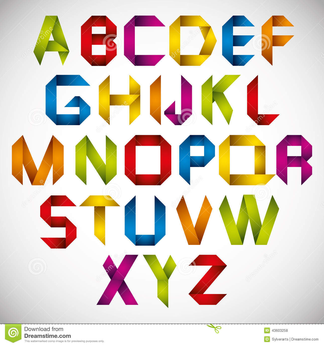 Origami Style Font With Colorful Letters Royalty Free Stock Photos