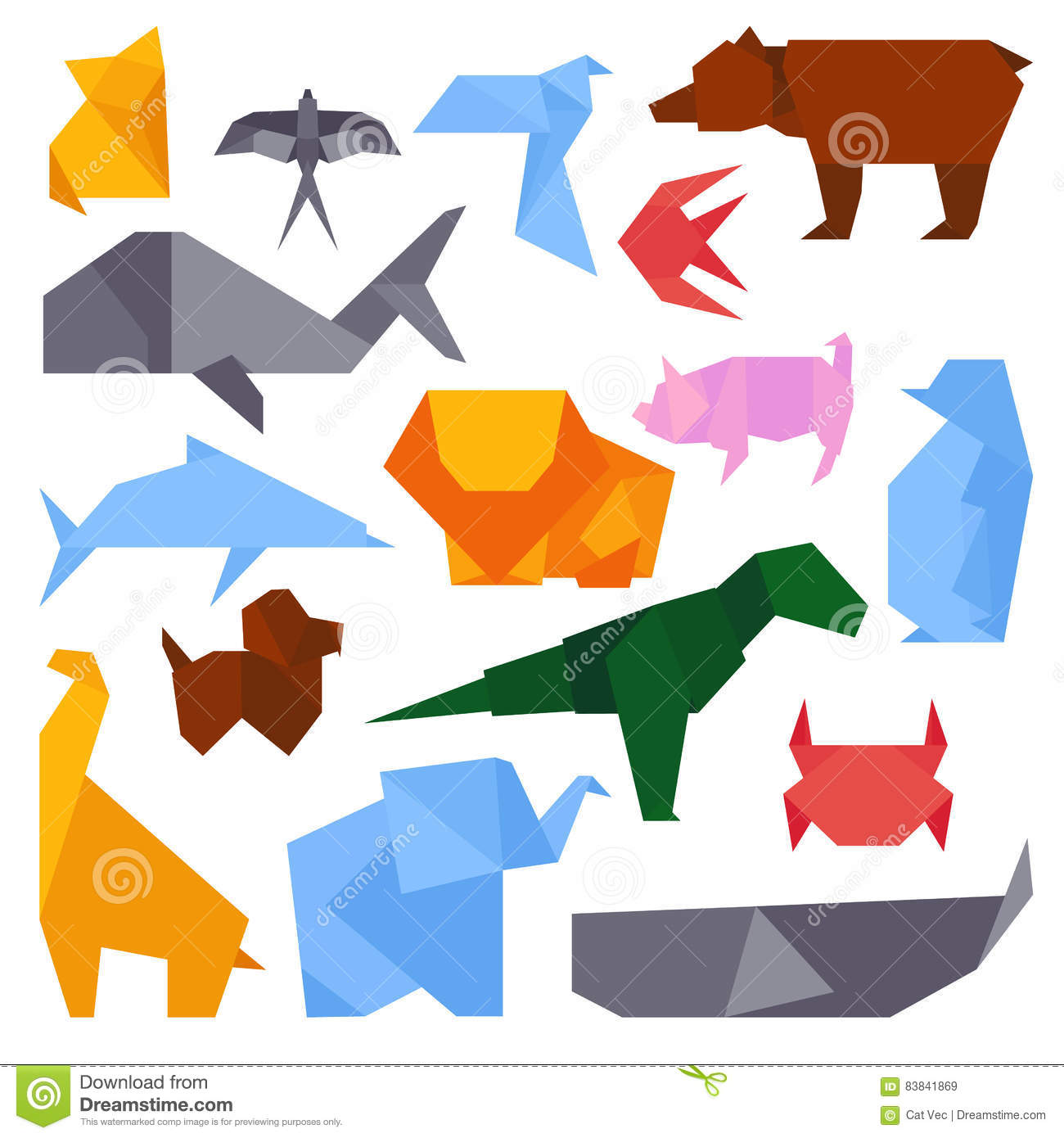 Vector Illustration Paper Origami Of Pig. Cartoon Vector ... - photo#44