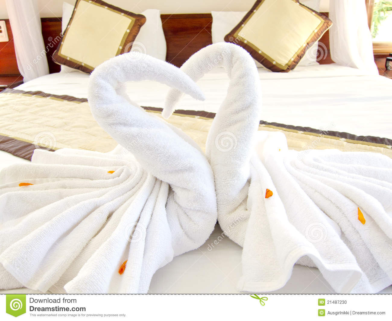 Origami Swan Towels Bed Decoration Stock Photo Image Of