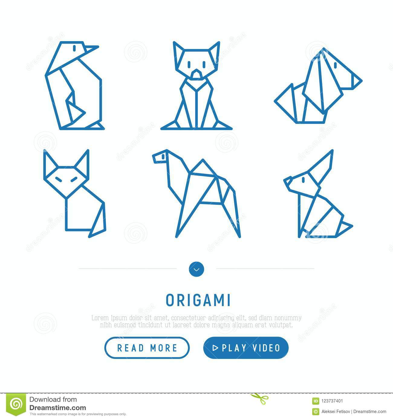 Origami Thin Line Icons Set Stock Vector Illustration Of Object Cat Diagram