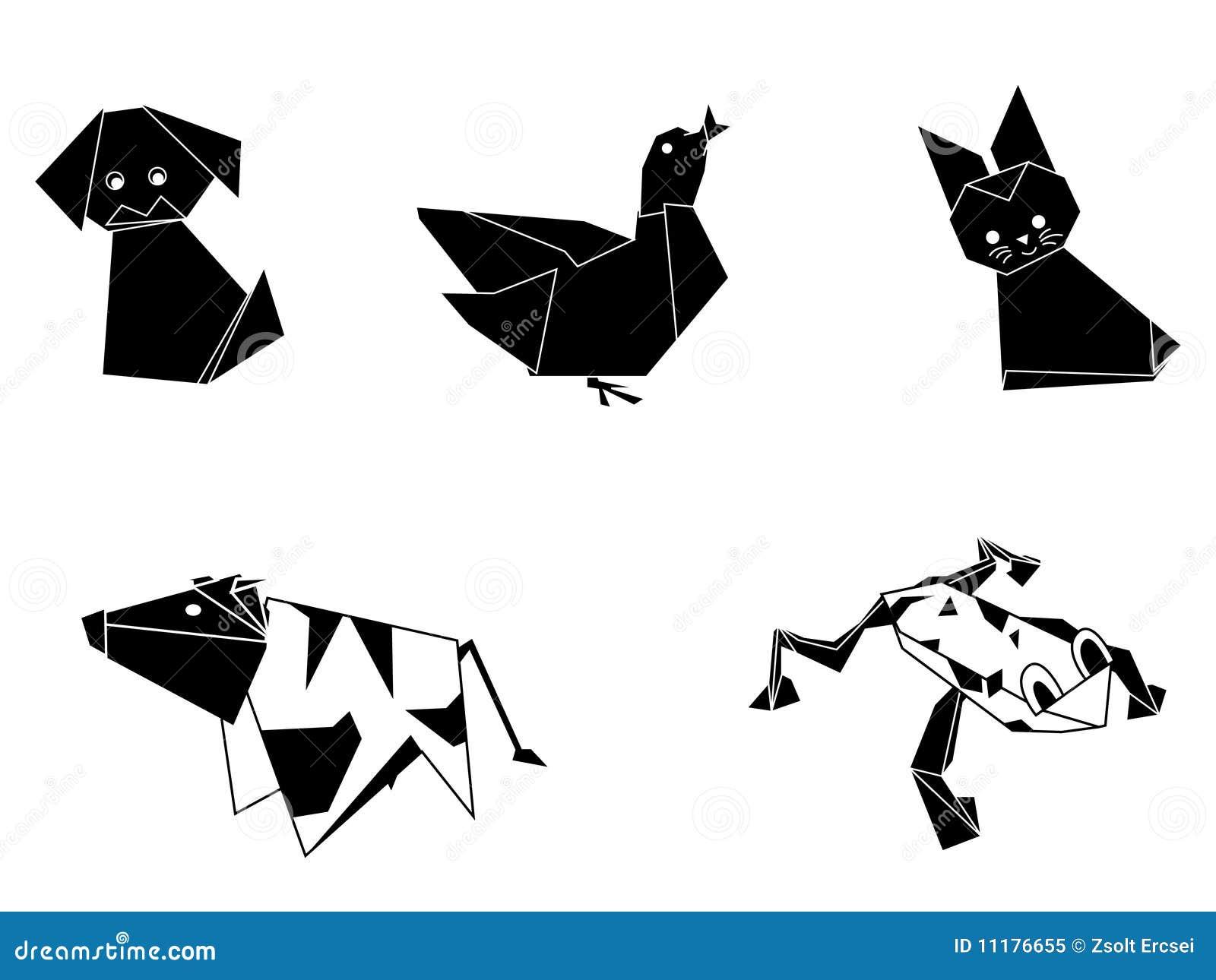 origami tiere vektor abbildung illustration von handwerke 11176655. Black Bedroom Furniture Sets. Home Design Ideas