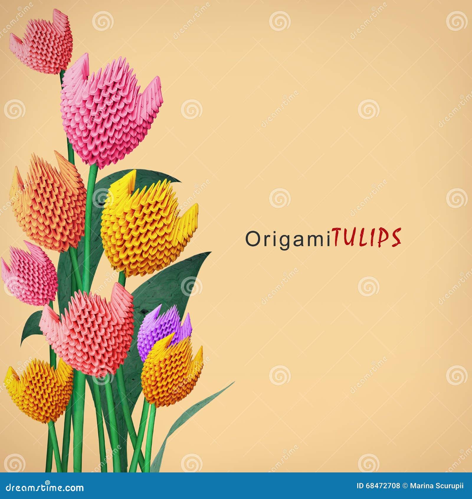 Origami Tulip Bouquet Stock Photo Image Of