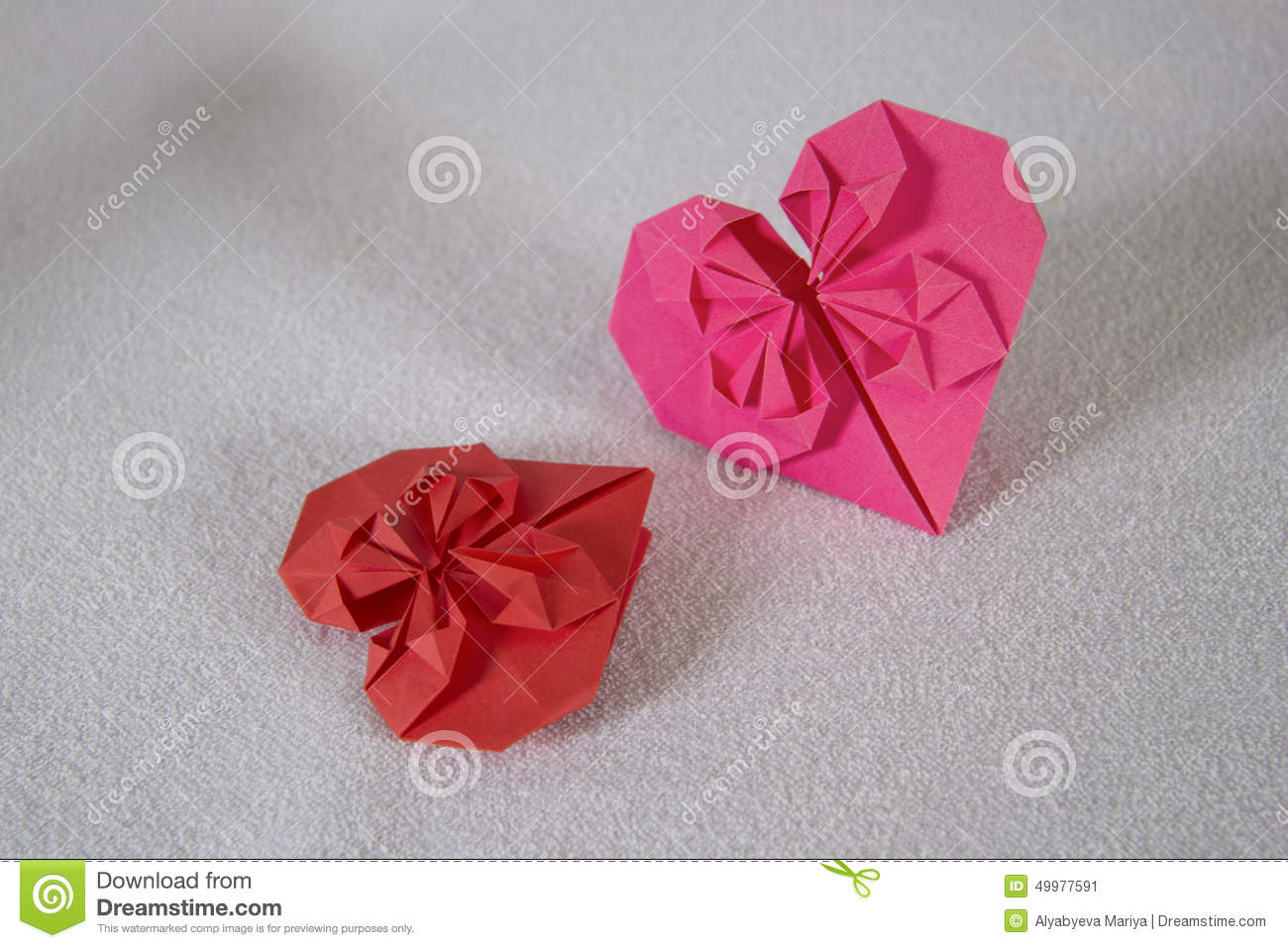 Origami Two Hearts Out Of Paper 1 Stock Image Image Of