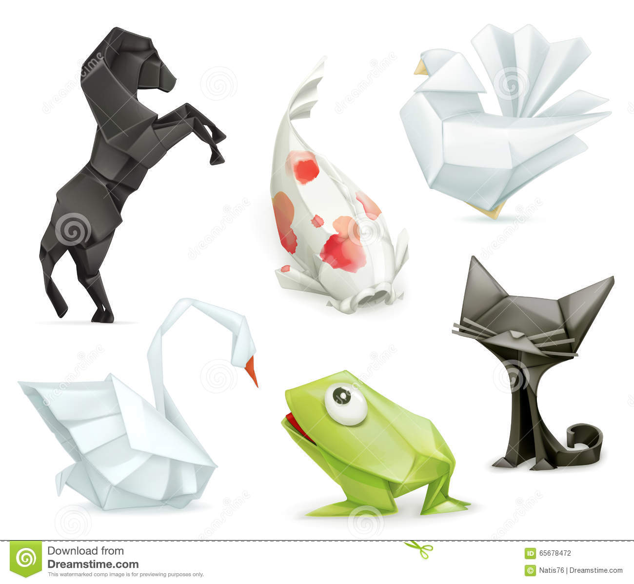 Origami vector animals icons