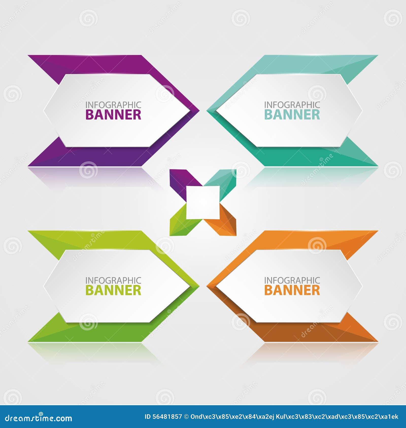 Origami vectorbanner Witte die banner met gekleurd document wordt verpakt