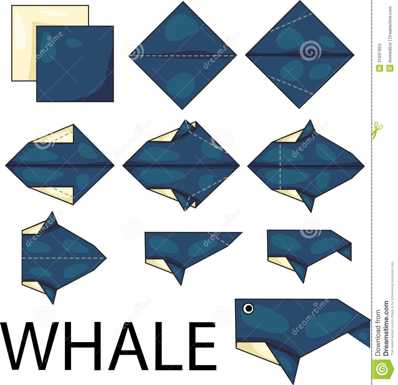 Origami Whale Stock Vector Illustration Of Cartoon Isolated