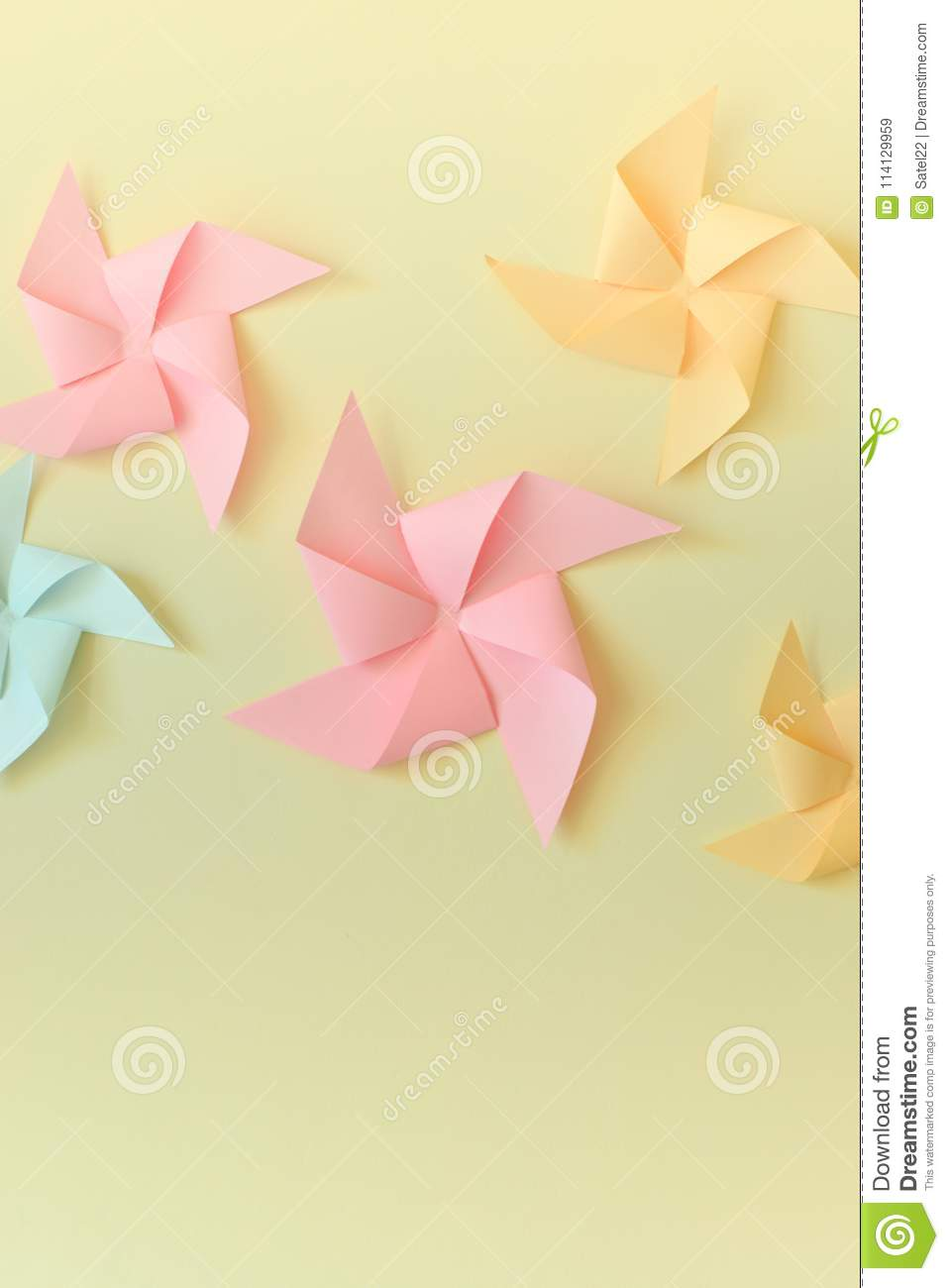 Origami Windmill Samples And Decoration Stock Image Image Of Wall