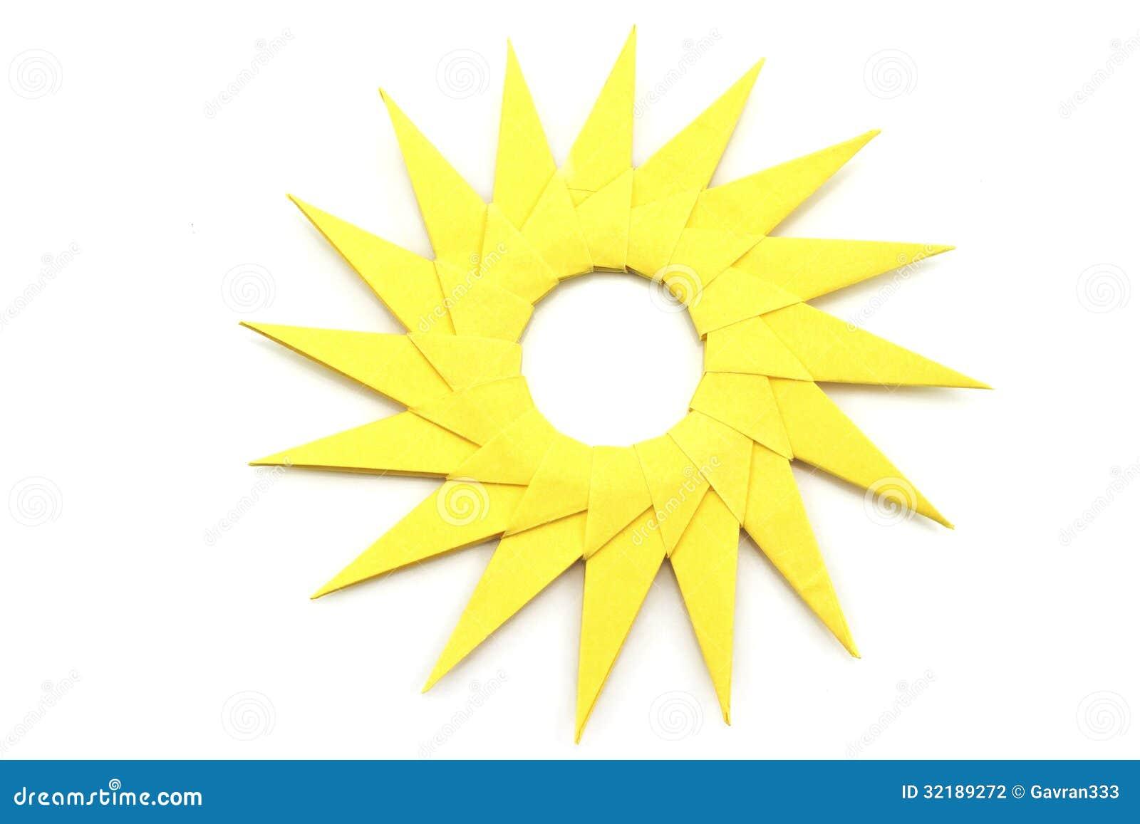 Origami Yellow Paper Sun Stock Photo Image Of Nature 32189272