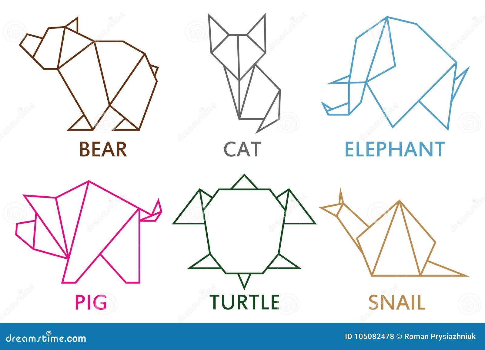 Origami zwierzęta inkasowi Set kreskowy geometryczny kształt dla sztuki fałdowy papier Szablon dla loga również zwrócić corel ilu