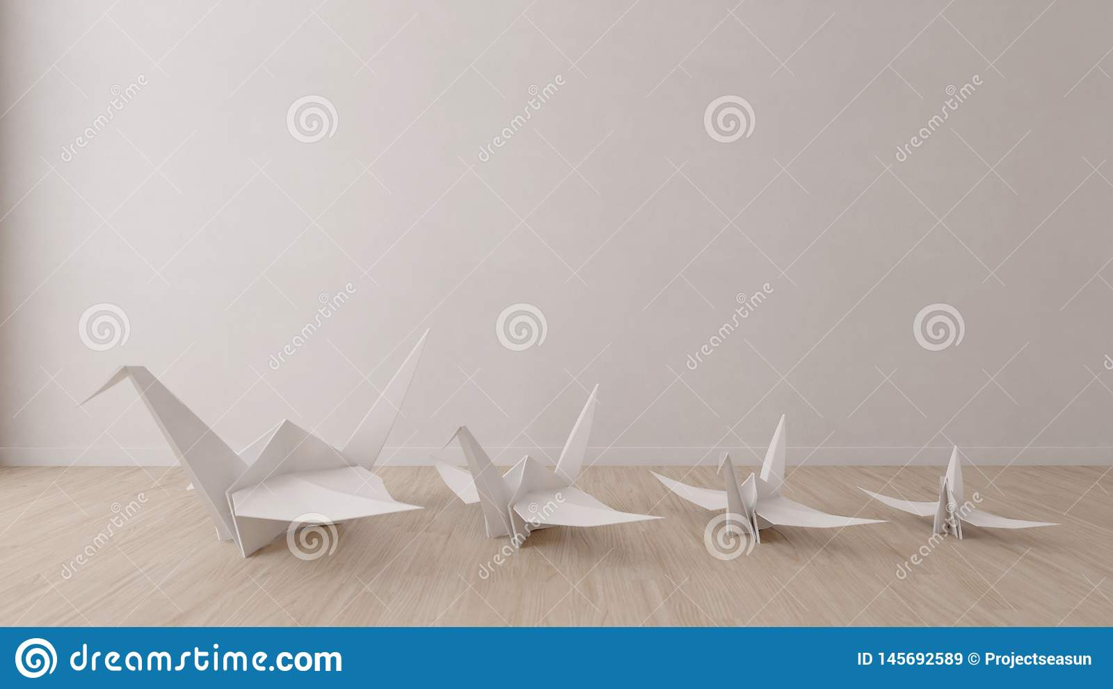 Origamivogel in lege ruimte