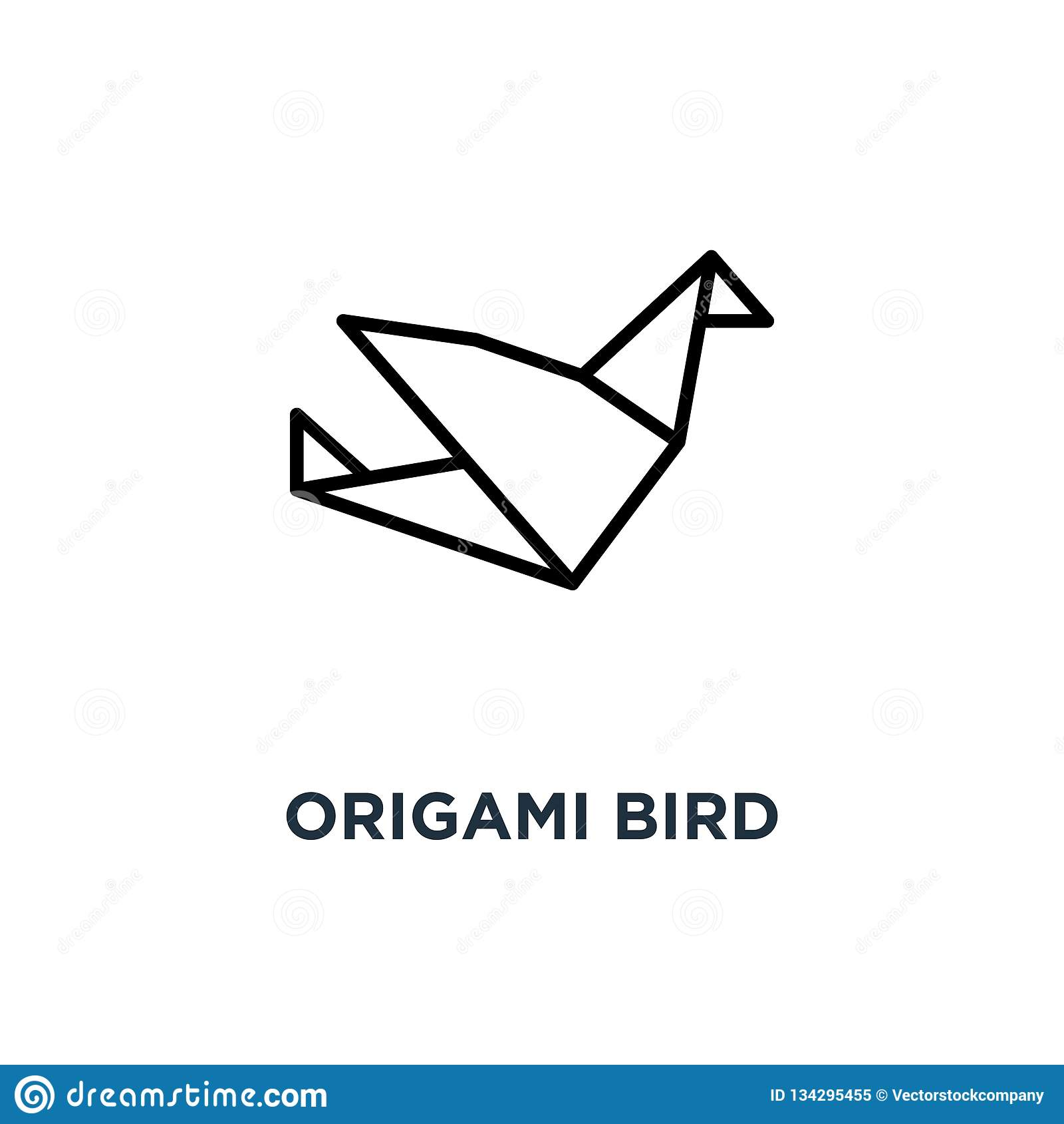 origamivogelikone lineare einfache elementillustration