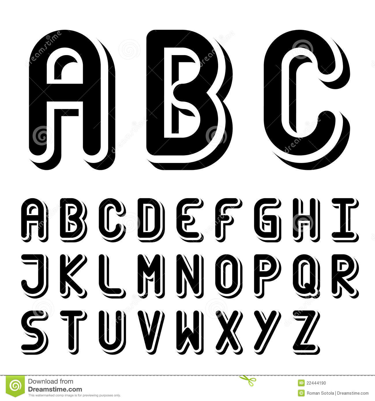 download original 3d black and white font alphabet stock vector illustration of design communication