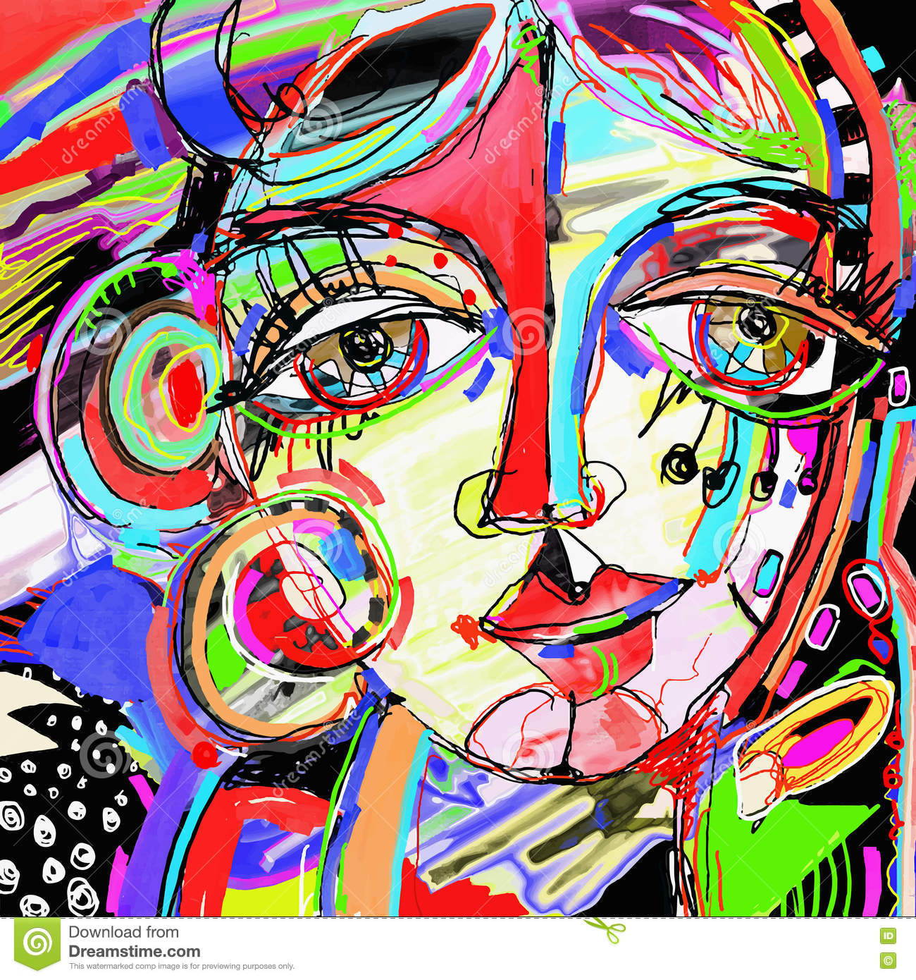 Original abstract digital painting of human face colorful for Bilder modern art
