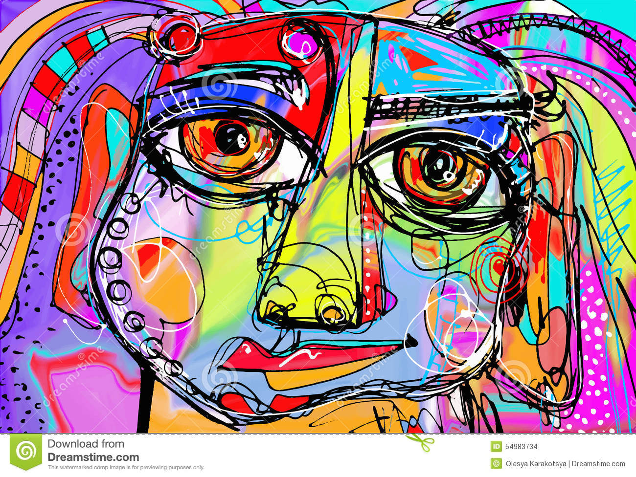 Original abstract digital painting of human face stock for Abstract mural designs