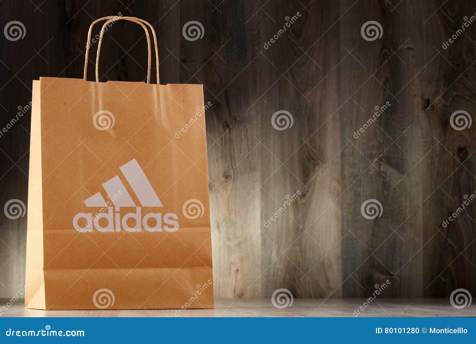 Original Adidas Paper Shopping Bag Editorial Image - Image of