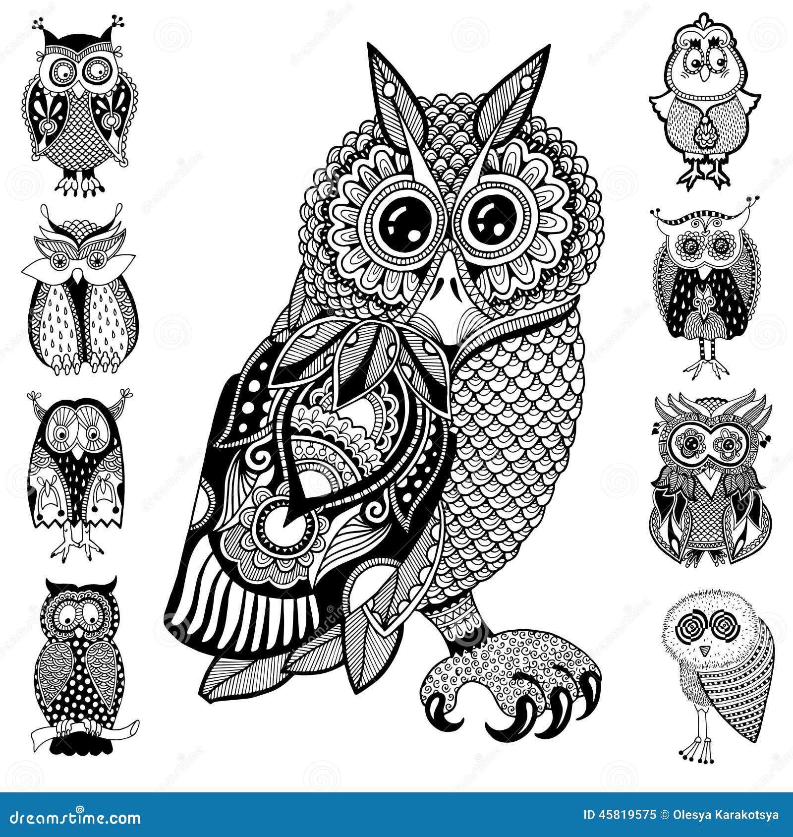 Original Artwork Of Owl Ink Hand Drawing In Stock Vector