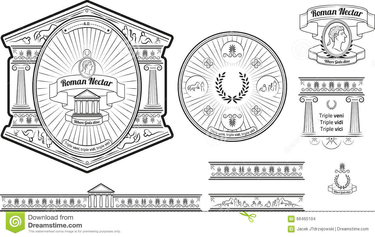 original beer label and baners design with ancient roman elements stock vector - Ancient Rome Designs