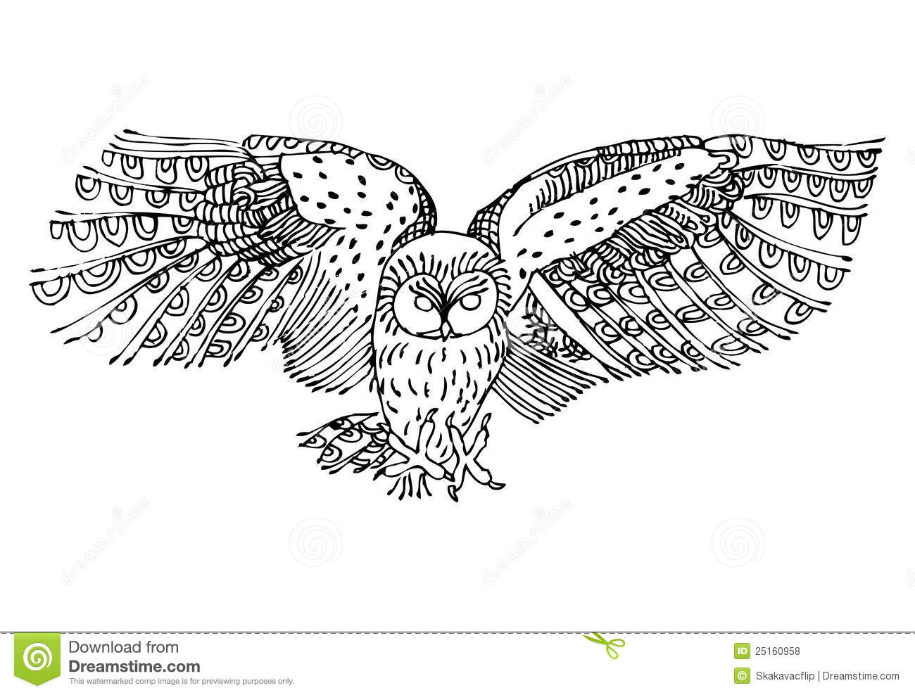 Flying owl drawings black and white - photo#16