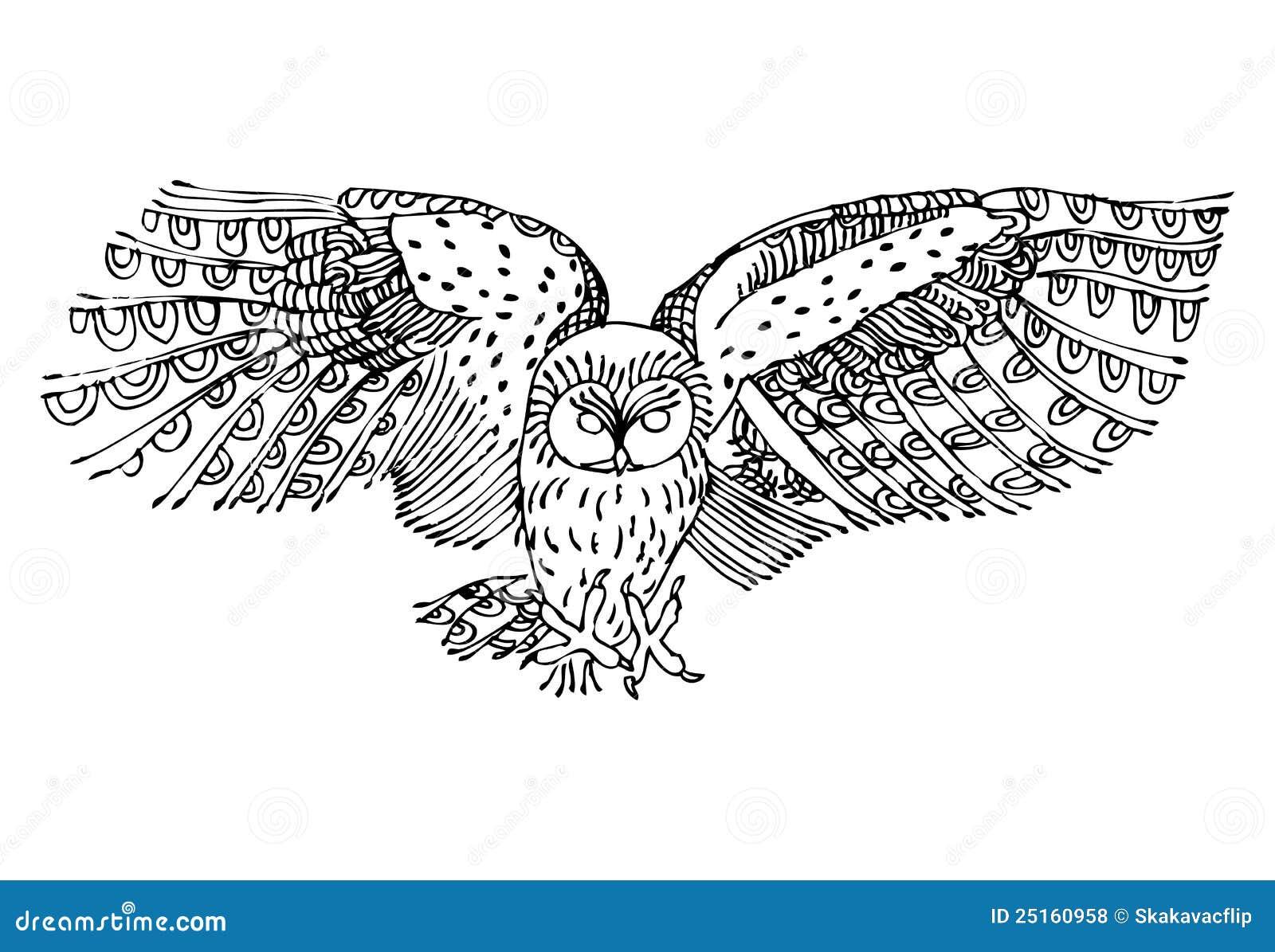 Volwassen Kleurplaten En Mandalas Original Black And White Drawing Of Owl Royalty Free Stock