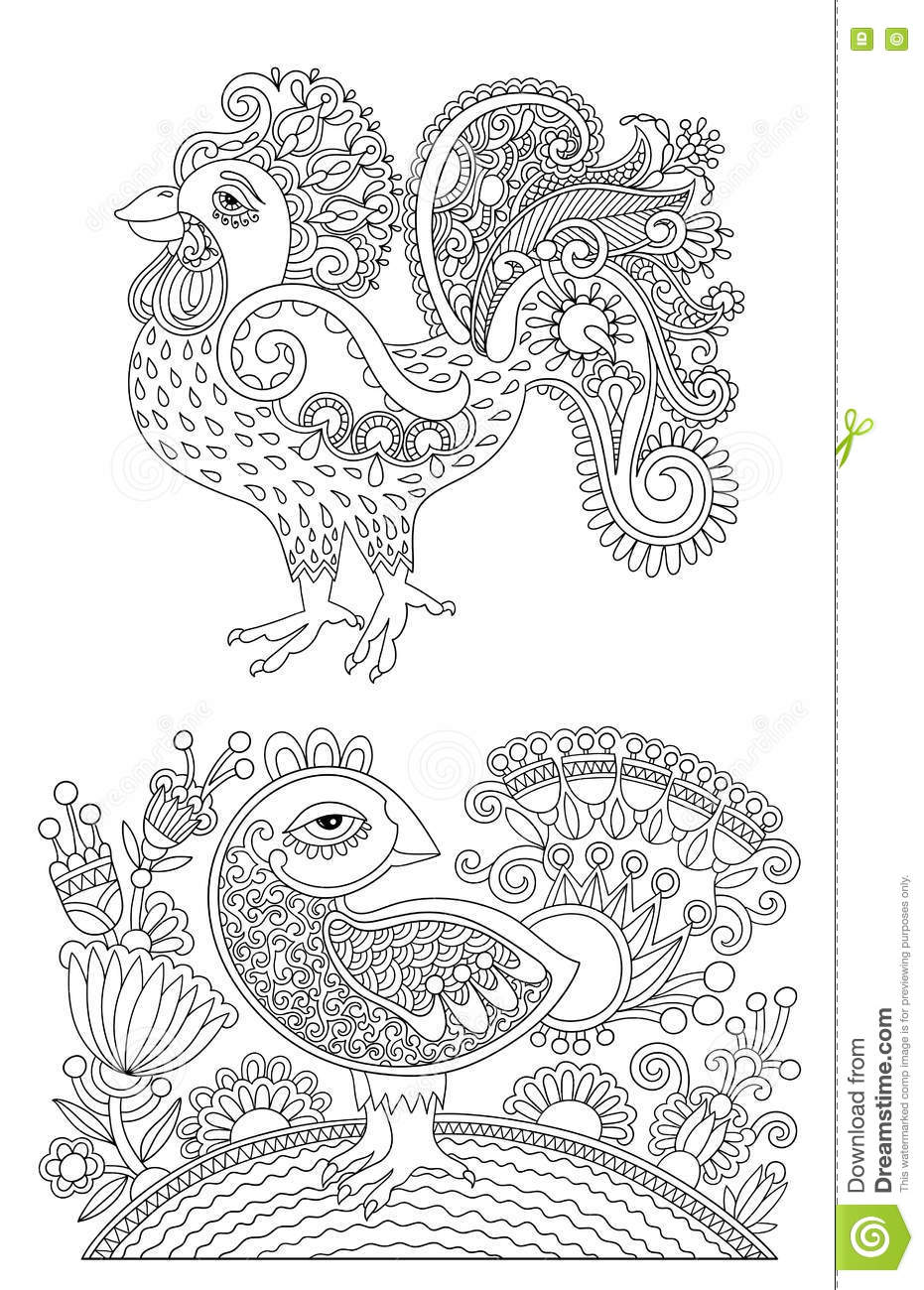 Line Art Joy : Original black and white line art rooster drawing page of