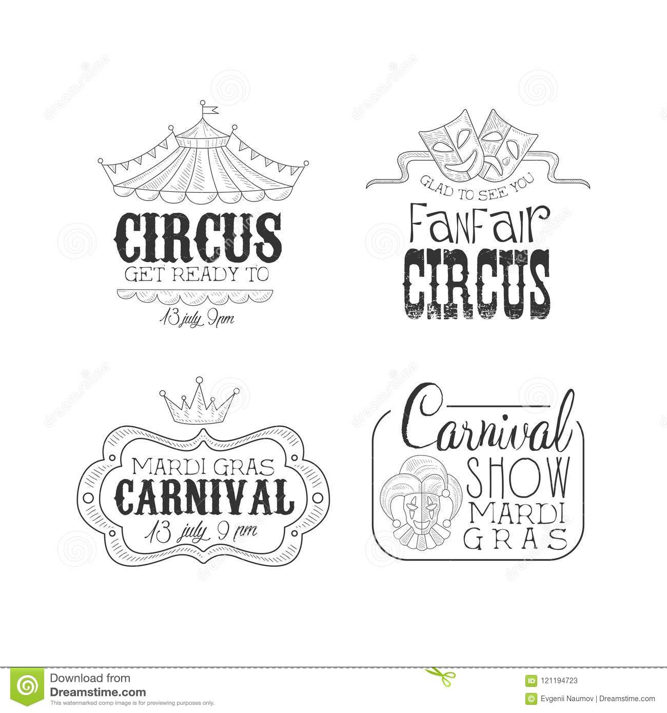 Original Black And White Vector Signs For Circus And Mardi Gras Carnival Sketch Emblems With