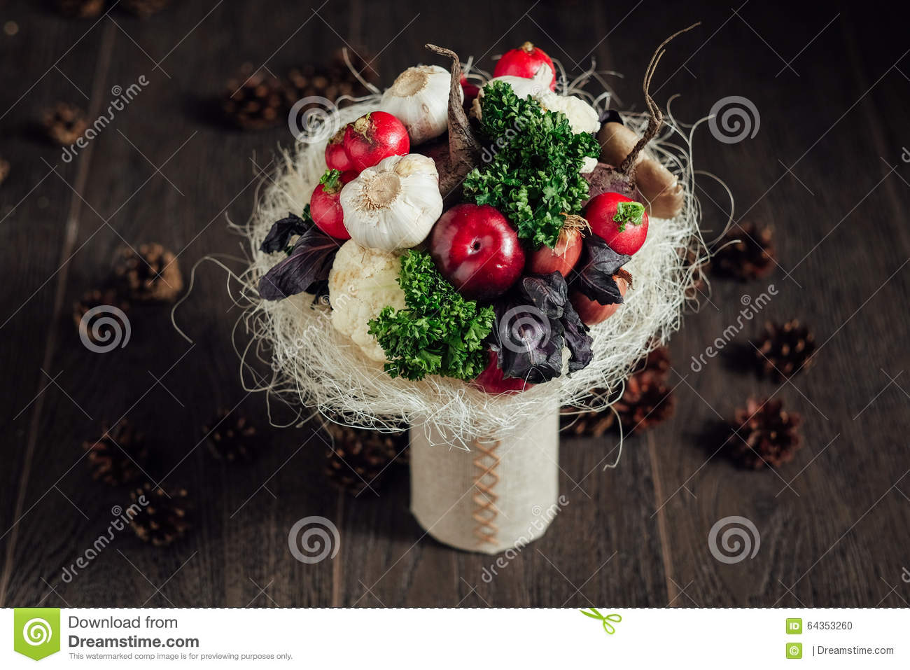 original bouquet of vegetables and fruits stock photography 64353296. Black Bedroom Furniture Sets. Home Design Ideas