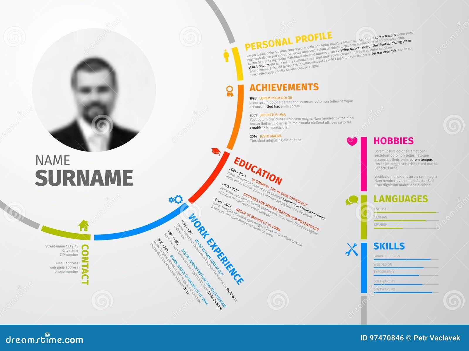 original circular resume template stock vector